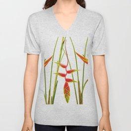 3 Exotic Jungle Flowers Helikonias white background Unisex V-Neck