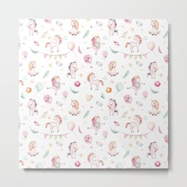 Hand painted blush pink green watercolor magic unicorn floral typography Metal Print