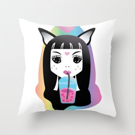 Slushy Kitty Throw Pillow
