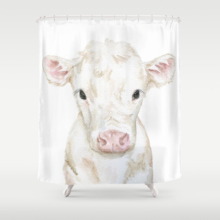 Baby White Cow Calf Watercolor Farm Animal Shower Curtain