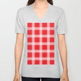 Red and White Plaid Unisex V-Neck