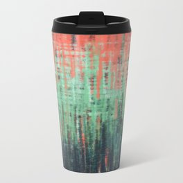 Coral Mint Navy Abstract Metal Travel Mug