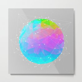 The Dots Will Somehow Connect (Geometric Sphere) Metal Print