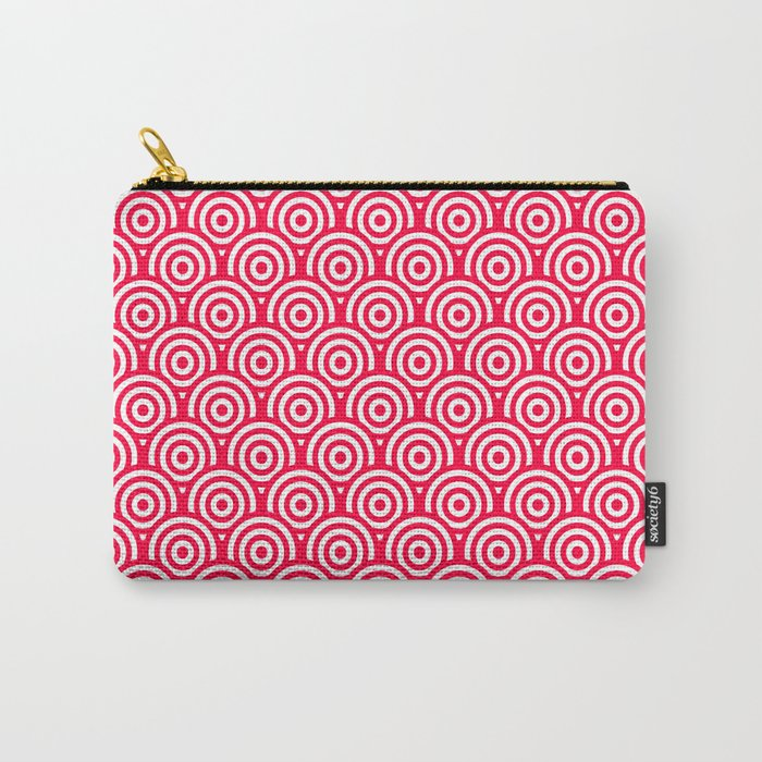 Red/Pink & White Geometric Circle Pattern Carry-All Pouch