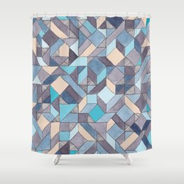 Shifitng Geometric Pattern in Blue Shower Curtain