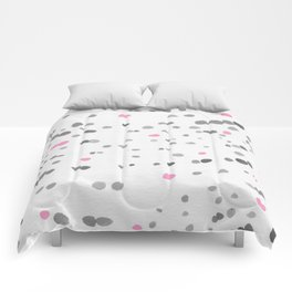 Dot Painting - Pink - Gray Comforters