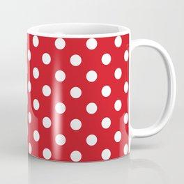 Small Polka Dots - White on Fire Engine Red Coffee Mug