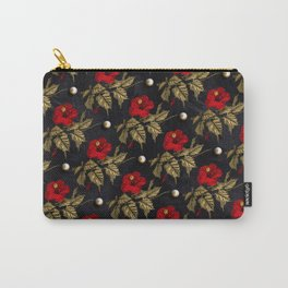Red and Gold Hibiscus with Pearls Pattern Carry-All Pouch