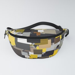 vintage psychedelic geometric square pixel pattern abstract in yellow brown and black Fanny Pack
