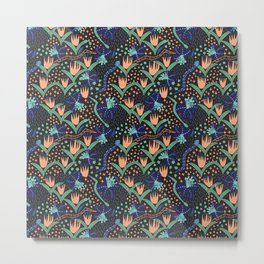 Tropical Snakes and Flowers Metal Print