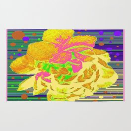 Yellow-Pink  Rose Fantasy Abstract Rug