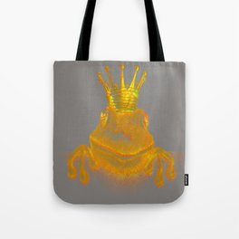 Simple Golden King Frog on Grey Day Tote Bag