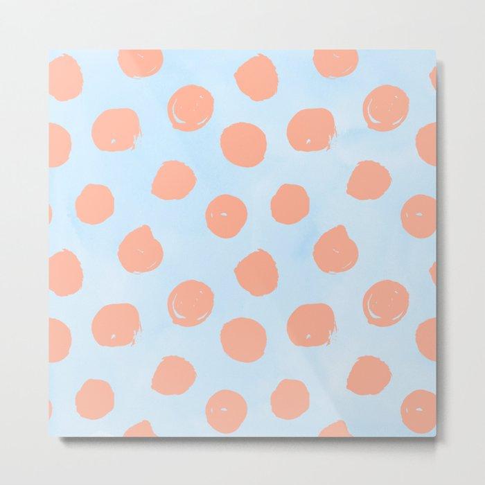 Sweet Life Dots Peach Coral Pink + Blue Raspberry Metal Print