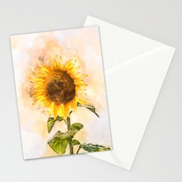 Summer Sunflower #floral #watercolor Stationery Cards