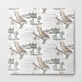 Paris Cockatoo Toile Metal Print