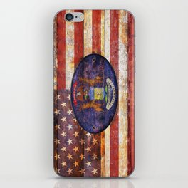 Michigan and USA flag on old wooden planks. iPhone Skin