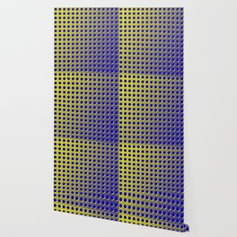 Blue and yellow brushed metal with holes Wallpaper