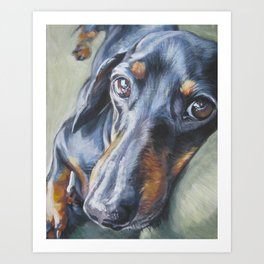 Dachshund Fine Art Dog Painting from an original painting by L.A.Shepard Art Print