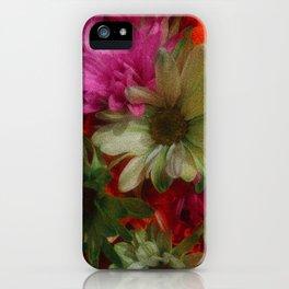 Grainy Green Flowers iPhone Case