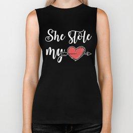 She stole my Heart, Perfect Valentine's day Gift Shirt for Husband, Boyfriend Biker Tank