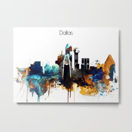 Dallas Texas watercolor print skyline Metal Print