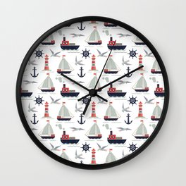 Sailboats and Lighthouse Wall Clock