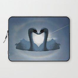 Two Blue Swans Inside Sun's Halo Laptop Sleeve