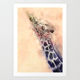 Giraffe #animal #watercolor Art Print