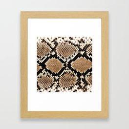 Pastel brown black white snakeskin animal pattern Framed Art Print