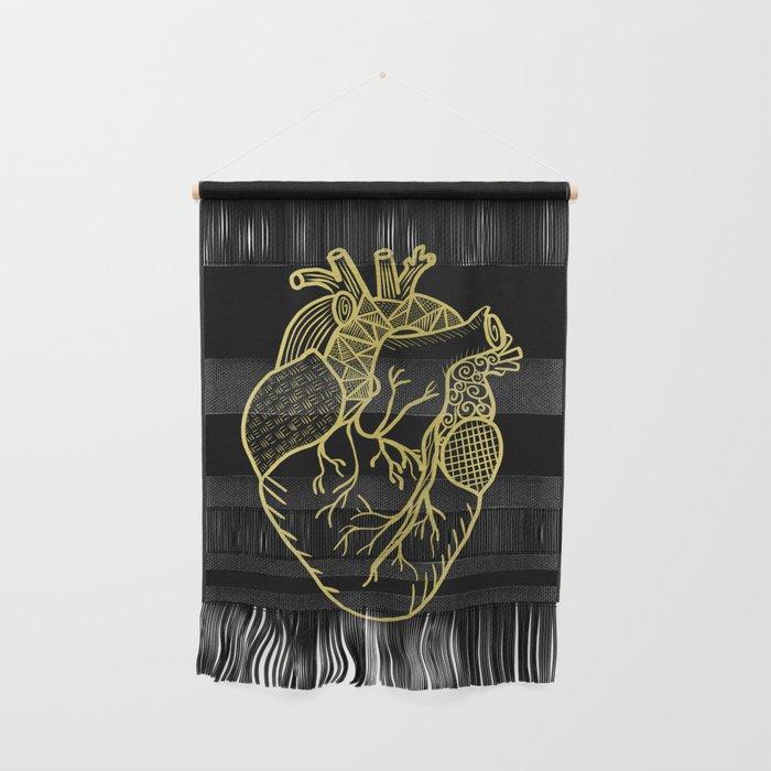 Designer Heart Gold Wall Hanging