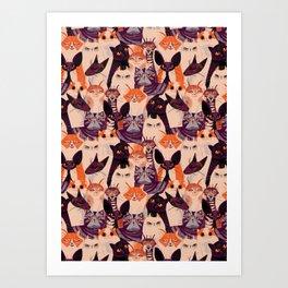 Clowder of Cats Art Print