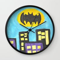 bat Wall Clocks featuring Bat by Marialaura