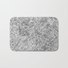 Grey and white swirls doodles Bath Mat