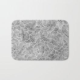 Grey and white swirls doodles Bath Mat