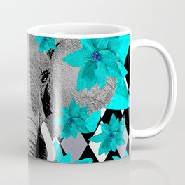 ELEPHANT and HARLEQUIN BLUE AND GRAY Coffee Mug