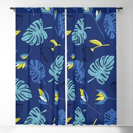 Tropical forest jungle monstera flowers pattern Blackout Curtain