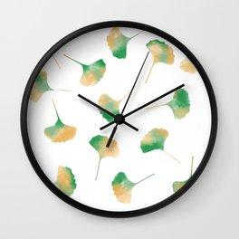 Ginkgo biloba leaves white Wall Clock