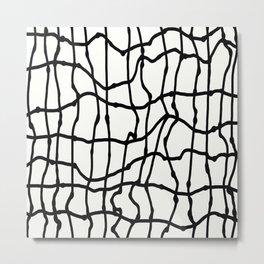 Melting Grid Pattern Metal Print