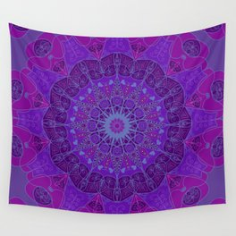 Mandala art drawing design purple fuchsia periwinkle Wall Tapestry