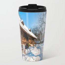 Fairy Tale Winter View at the Village Museum in Bucharest Travel Mug