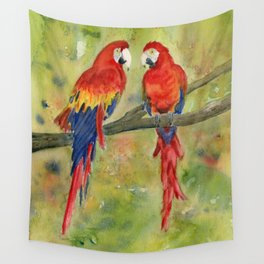 Scarlet Macaw Parrots Wall Tapestry