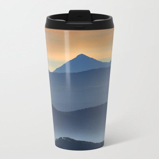 """Misty mountains"". Sunset at the mountains Metal Travel Mug"