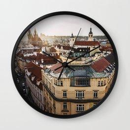 Prague Cityscape at sunset Wall Clock