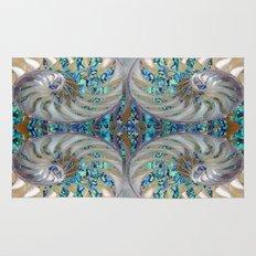 Blue-Green Grey Nautilus Shells Modern Abstracted Art Pattern Rug