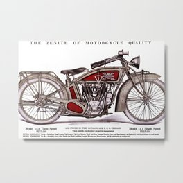1914 Excelsior Henderson Motorcycle Catalog Advertisement Print Metal Print
