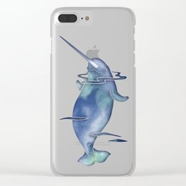 Blue Sea Narwhal Clear iPhone Case
