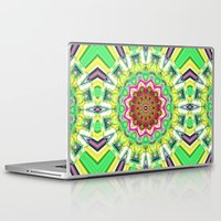 lime green Laptop & iPad Skins featuring Lime Green Citrus Abstract by Phil Perkins