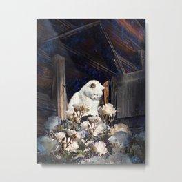 White Cat In A Window Metal Print
