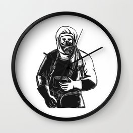 EMT Wearing Hazmat Suit Scratchboard Wall Clock