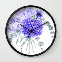 Purple Hydrangeas and Anemones Watercolor Flowers Wall Clock